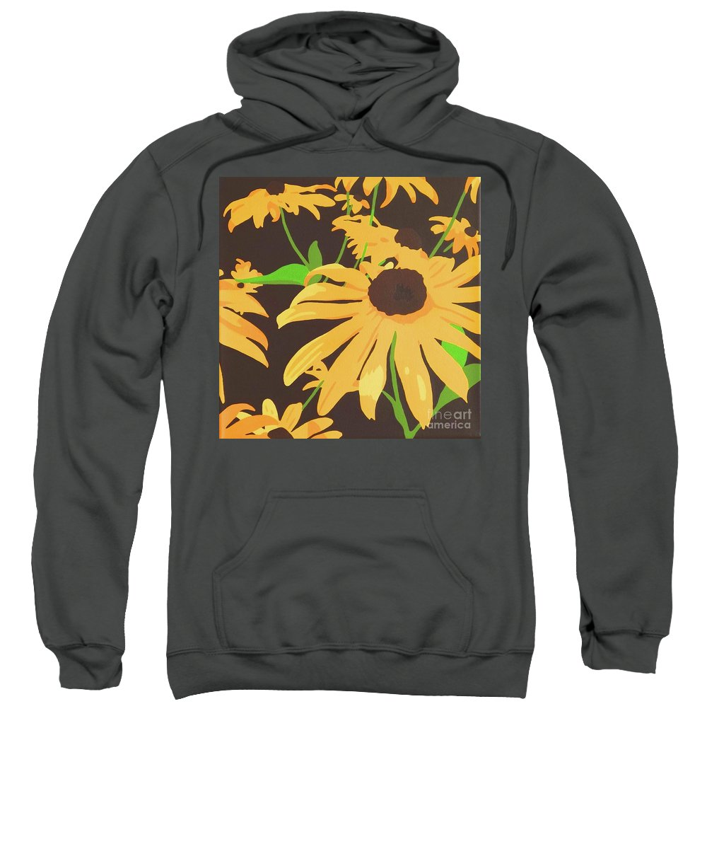 Yellow Sweatshirt featuring the painting Black-eyed Susans by Susan Porter