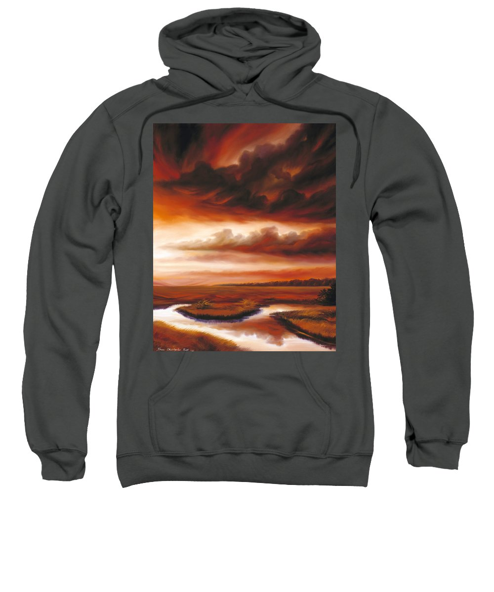 Contemporary Sweatshirt featuring the painting Black Fire by James Christopher Hill