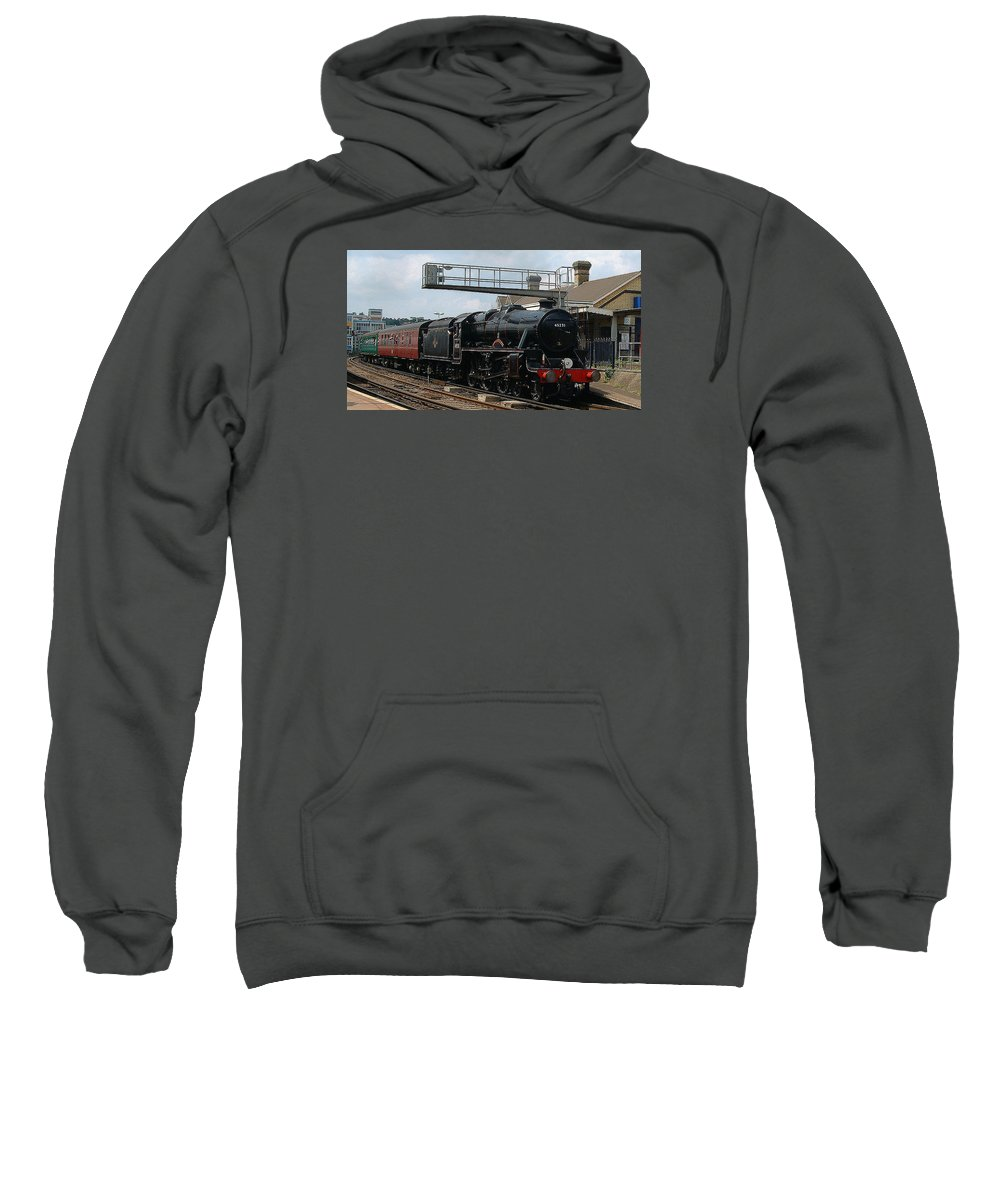 Trains Sweatshirt featuring the photograph Black Five by Richard Denyer