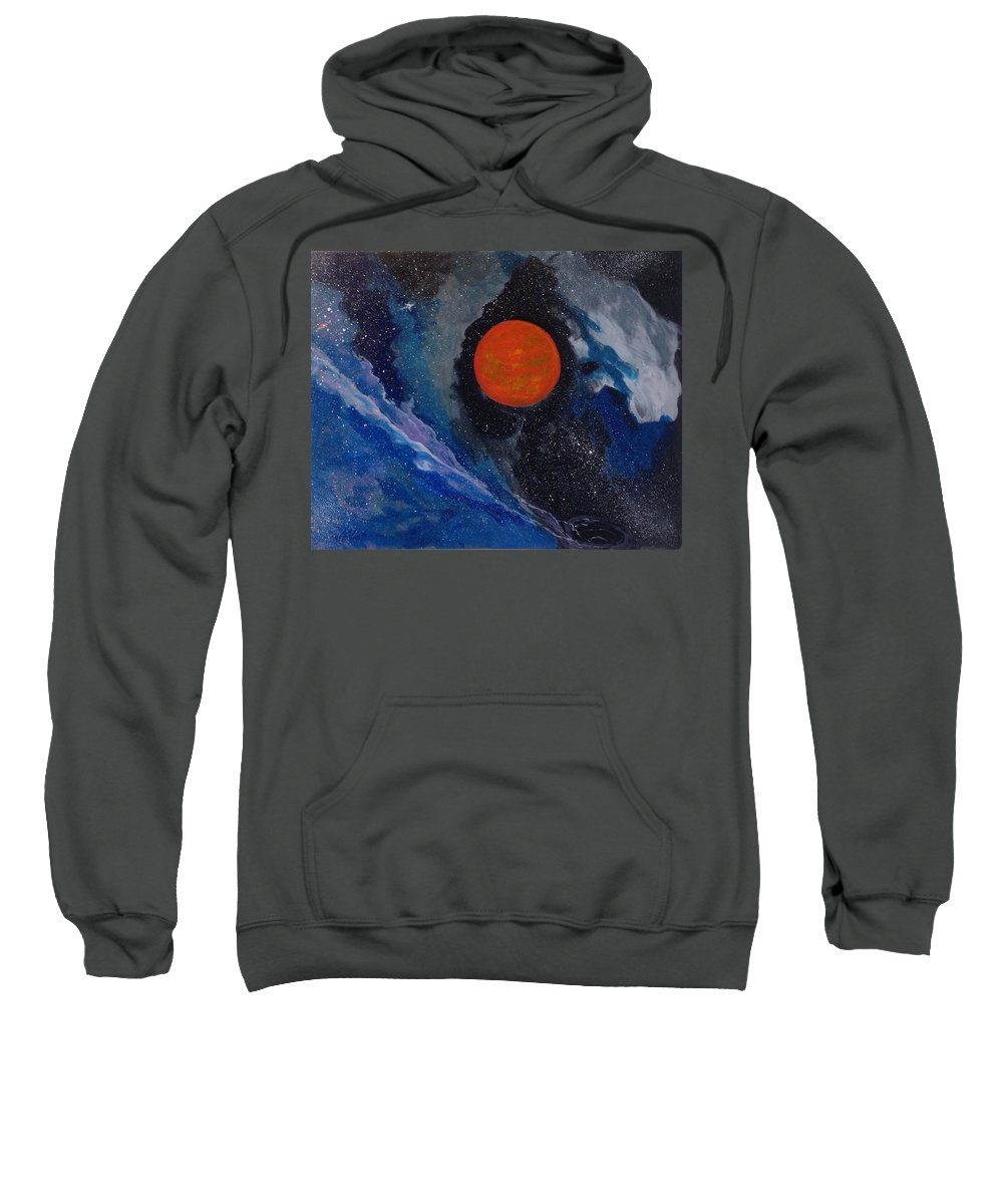 Black Holes; Space; Gas Balls Sweatshirt featuring the painting Black Hole by Cypriano