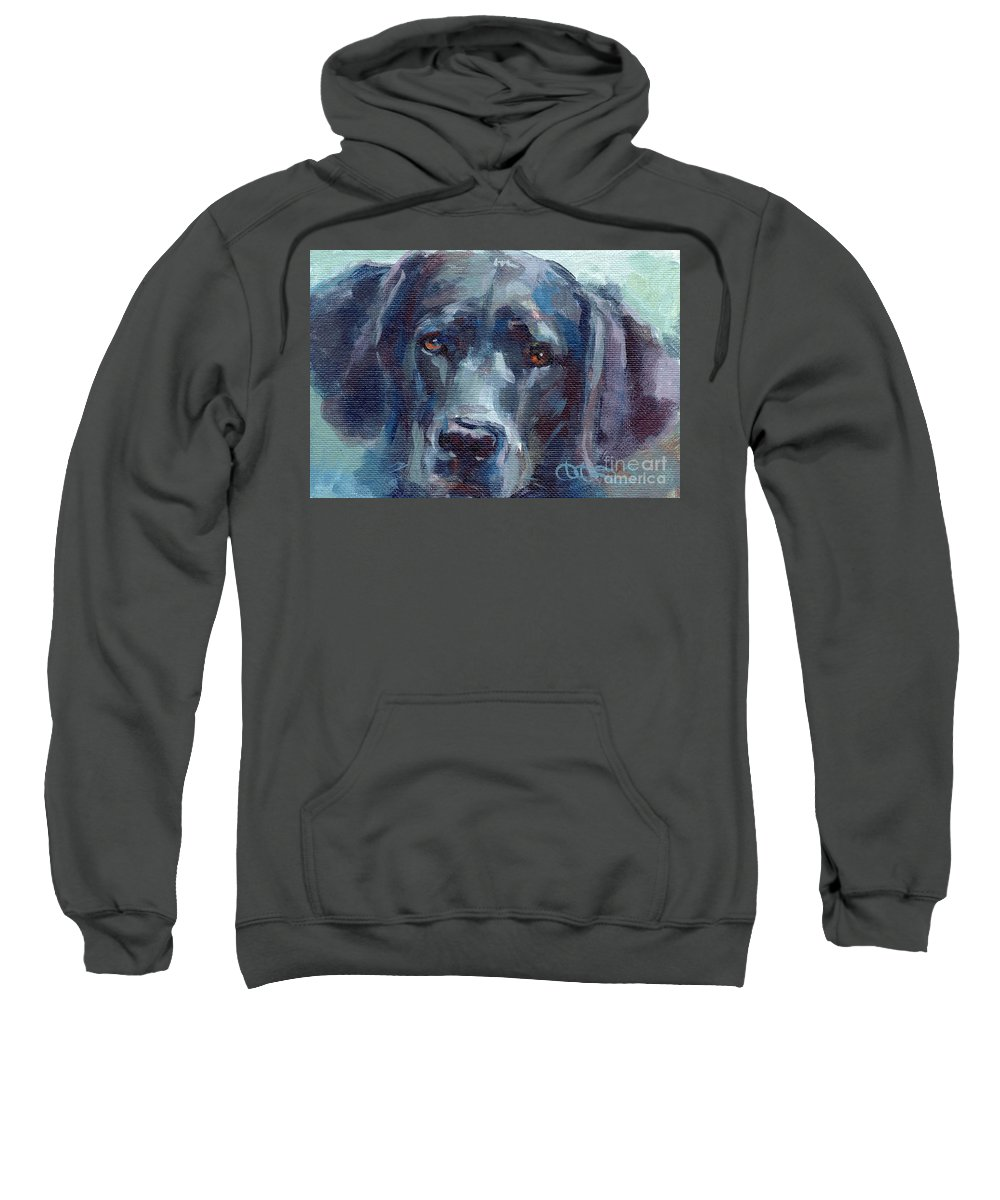 Black Lab Sweatshirt featuring the painting Black Lab Bandit by Kimberly Santini