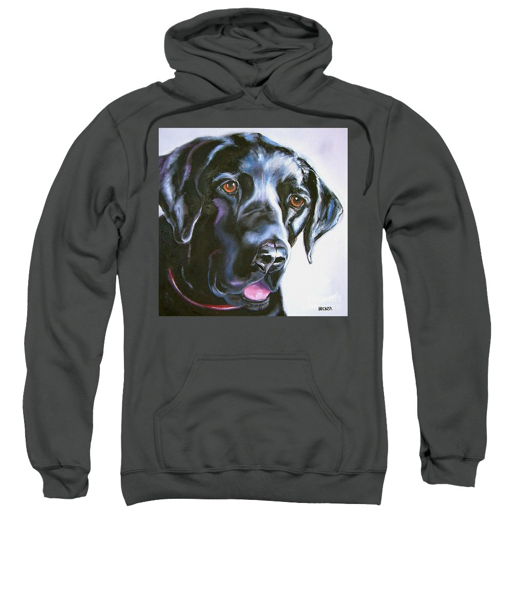 Dogs Sweatshirt featuring the painting Black Lab No Ordinary Love by Susan A Becker