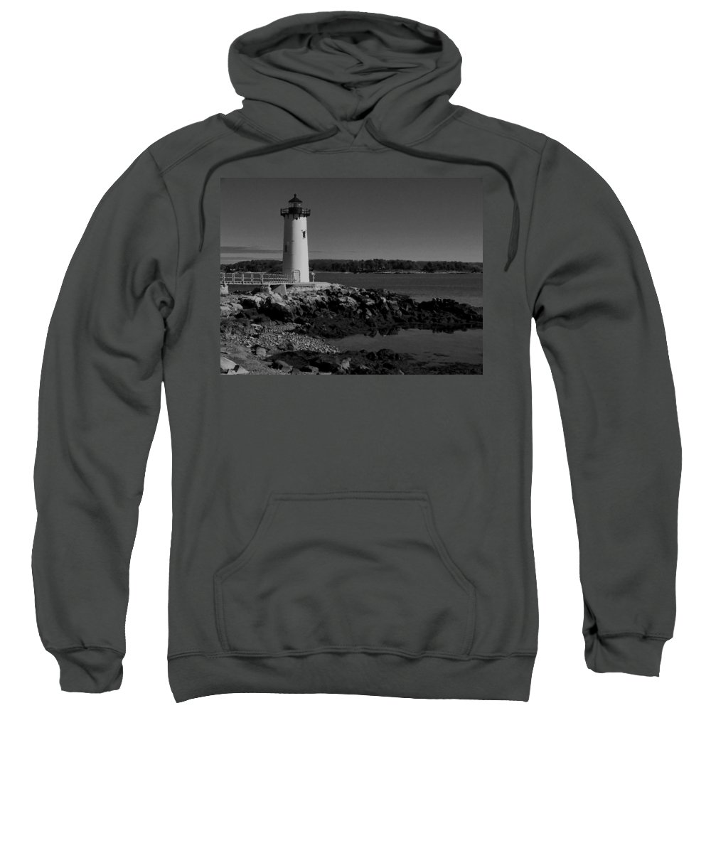 Portsmouth Harbor Lighthouse Sweatshirt featuring the photograph Black N White-portsmouth Harbor Lighthouse by Nancie DeMellia