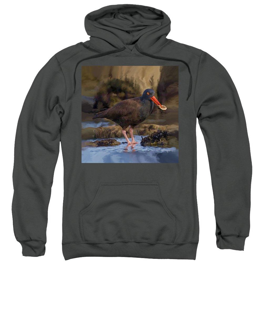 Black Oyster Catcher Sweatshirt featuring the painting Black Oyster Catcher by David Wagner
