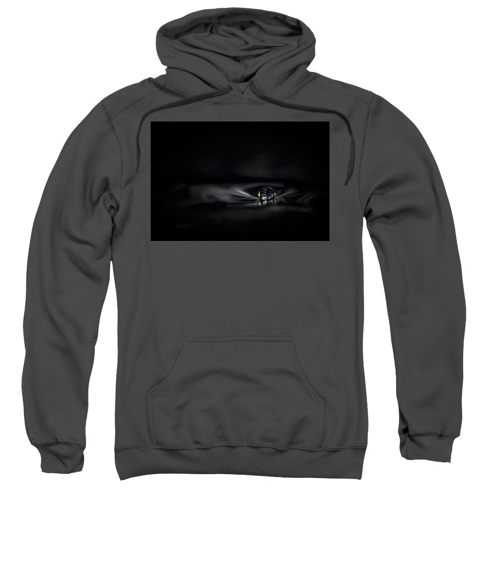 Water Sweatshirt featuring the photograph Black Pearl Water Drop by Johanna Froese