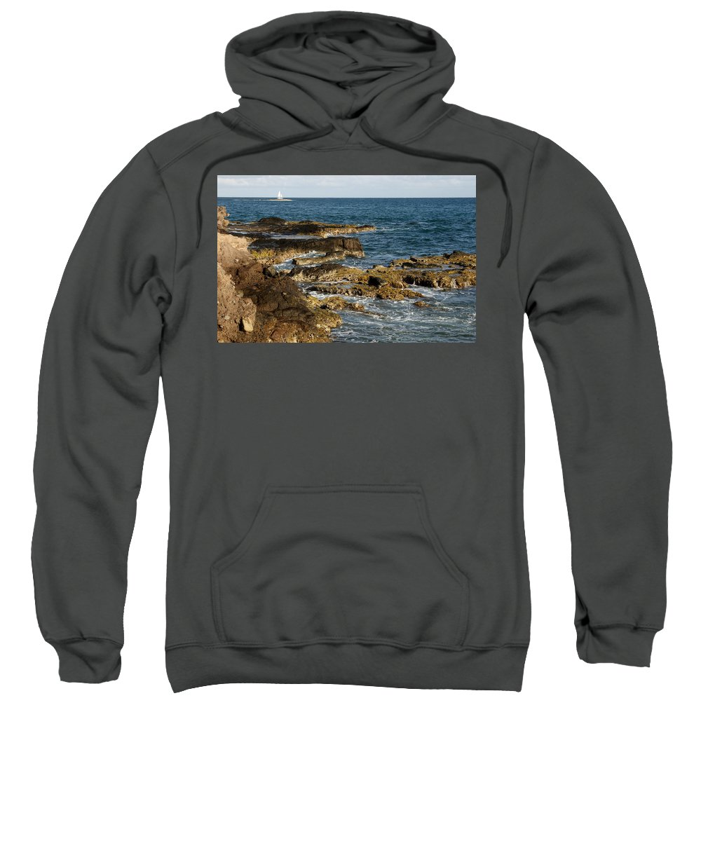 Sailboat Sweatshirt featuring the photograph Black Rock Point And Sailboat by Jean Macaluso