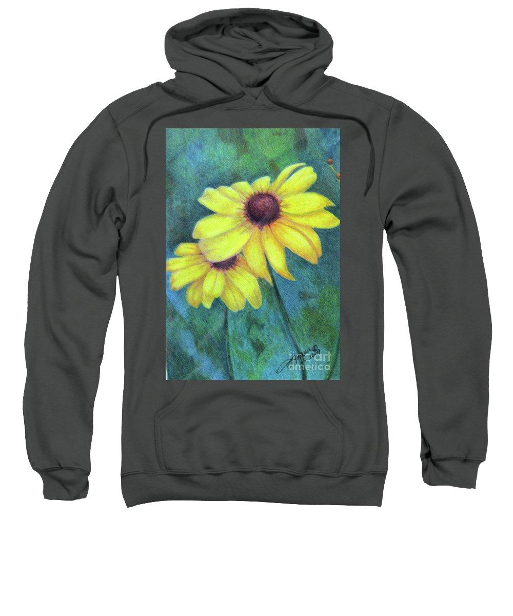 Fuqua - Artwork Sweatshirt featuring the drawing Blackeyed Susan by Beverly Fuqua