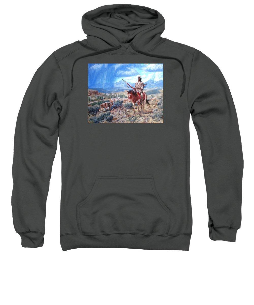 Blackfoot Warrior Sweatshirt featuring the painting Blackfoot Warrior by Scott Robertson