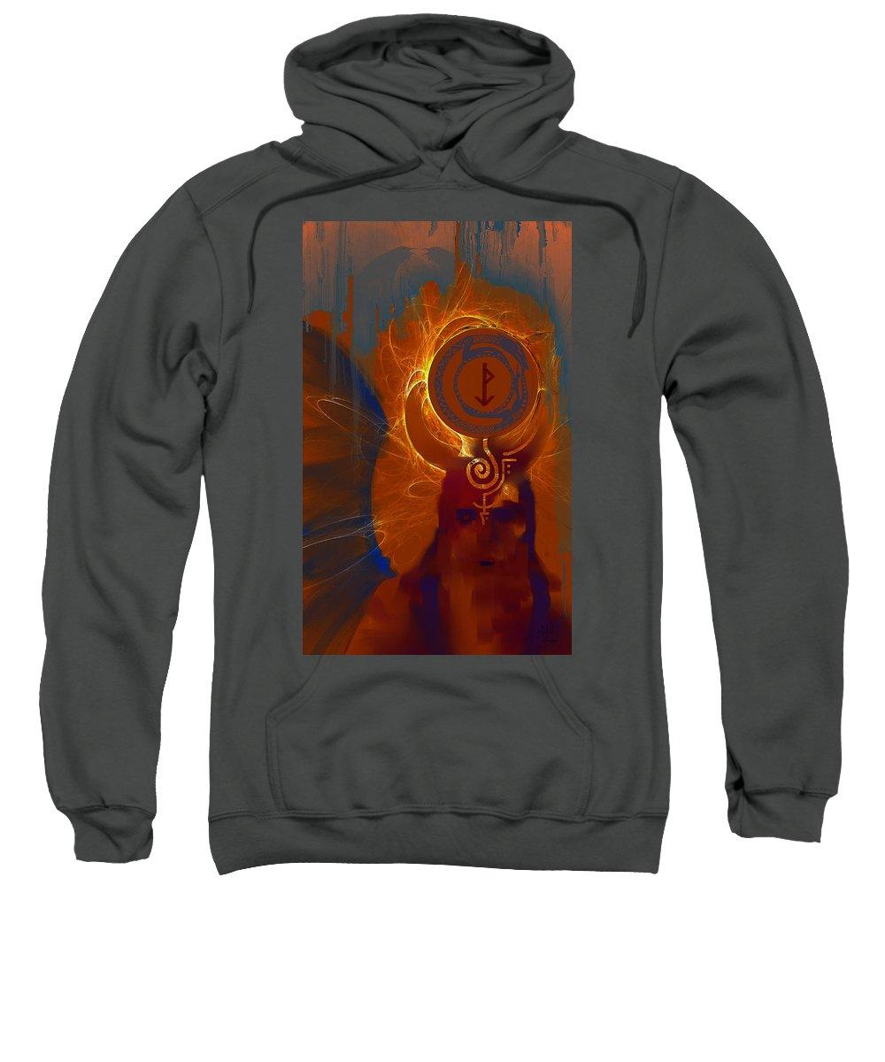 Spiritual Sweatshirt featuring the digital art Blazzing Wisdom Through Odins Essence by Stephen Lucas