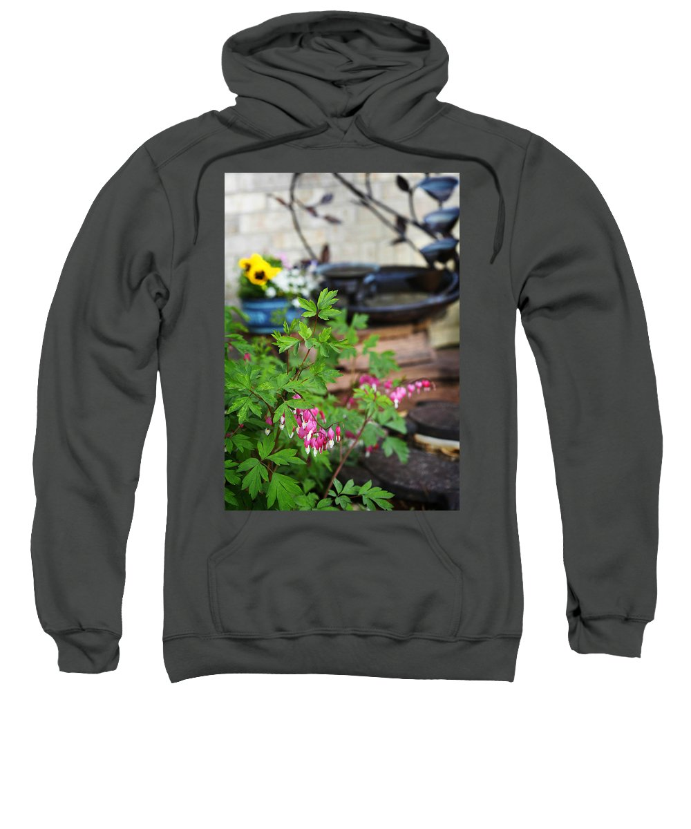Flower Sweatshirt featuring the photograph Bleeding Heart And Fountain by Marilyn Hunt