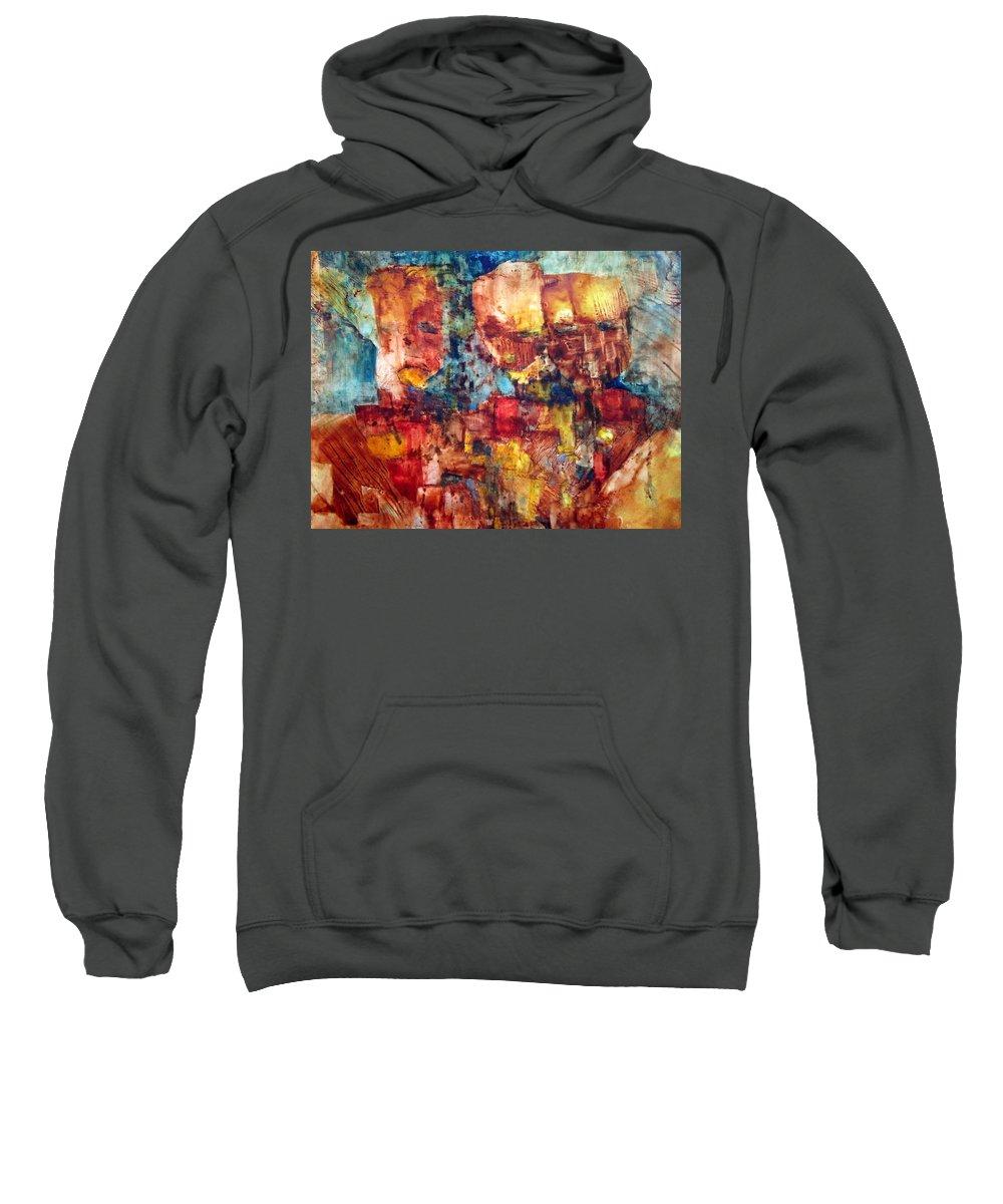 Men Sweatshirt featuring the painting Blockheads by Janice Nabors Raiteri