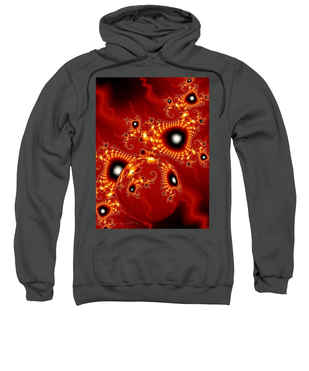 Fractal Passion Love Red Sphere Sweatshirt featuring the digital art Blood In Love by Veronica Jackson