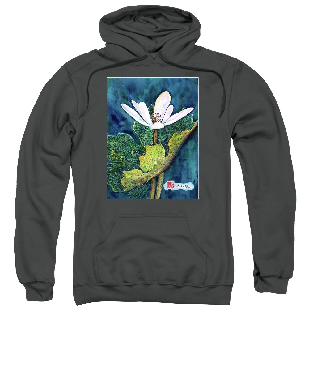 White Flower Sweatshirt featuring the painting Blood Root by Norma Boeckler
