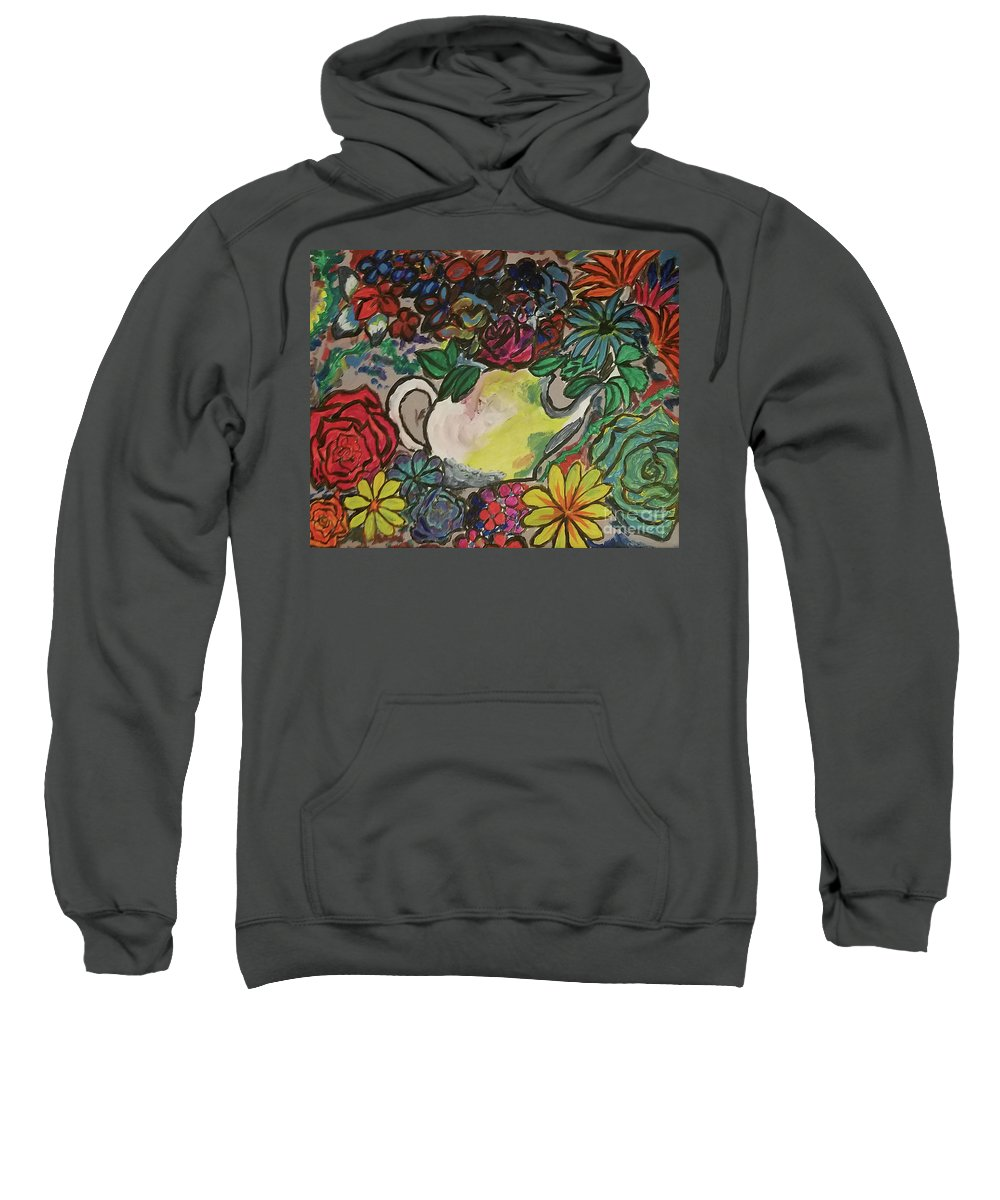 David Rodriguez Sweatshirt featuring the painting Blooing Pot by David Rodriguez