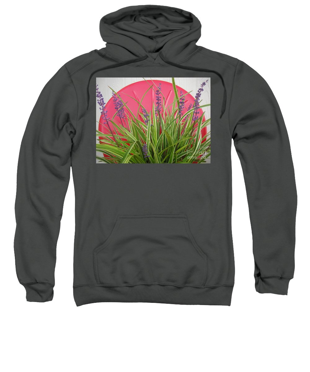 Nature Sweatshirt featuring the photograph Blooming Spider Against Red by Lucyna A M Green