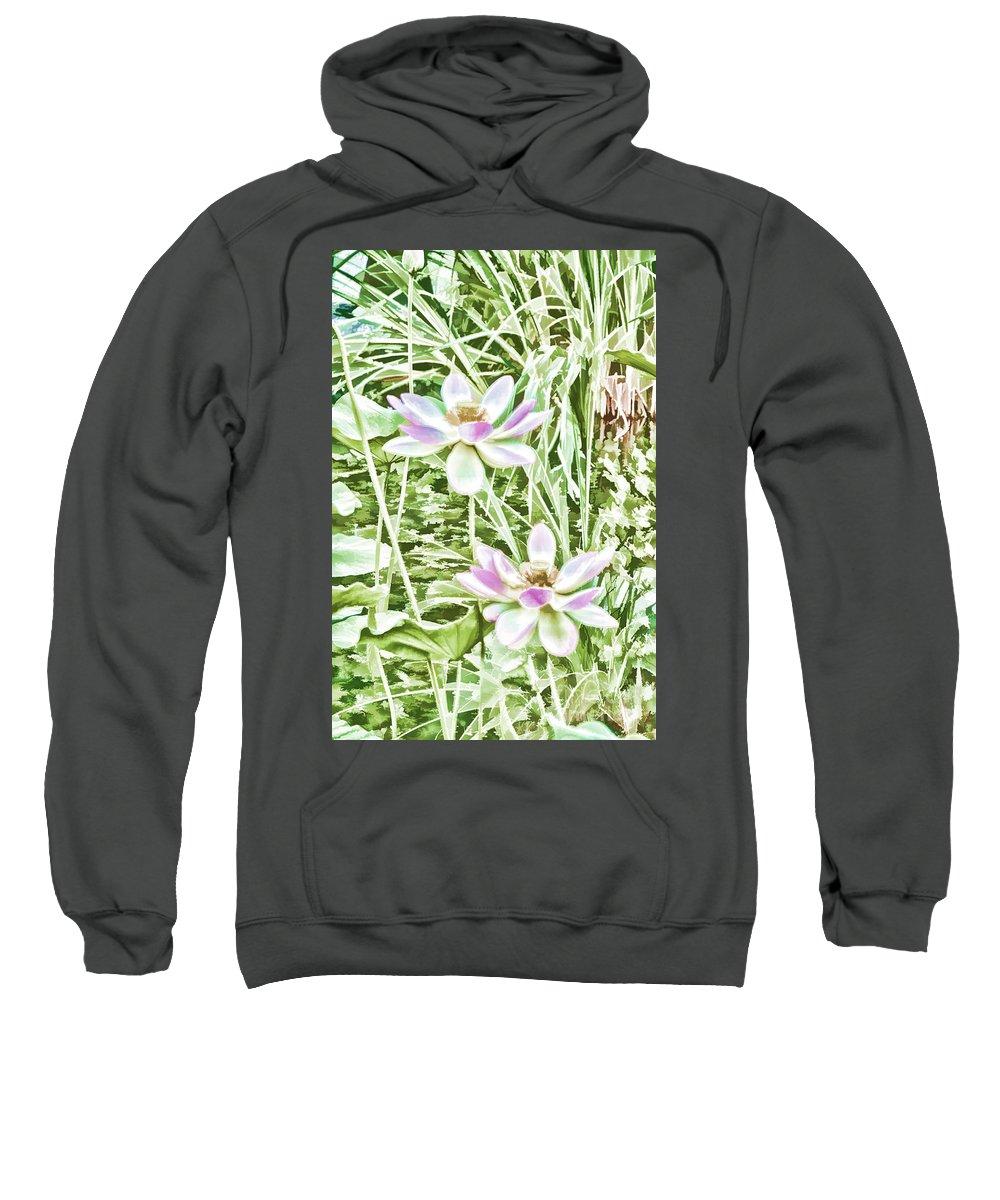 Blossom Pink Lotus Flower Sweatshirt featuring the painting Blossom Pink Lotus Flower by Jeelan Clark