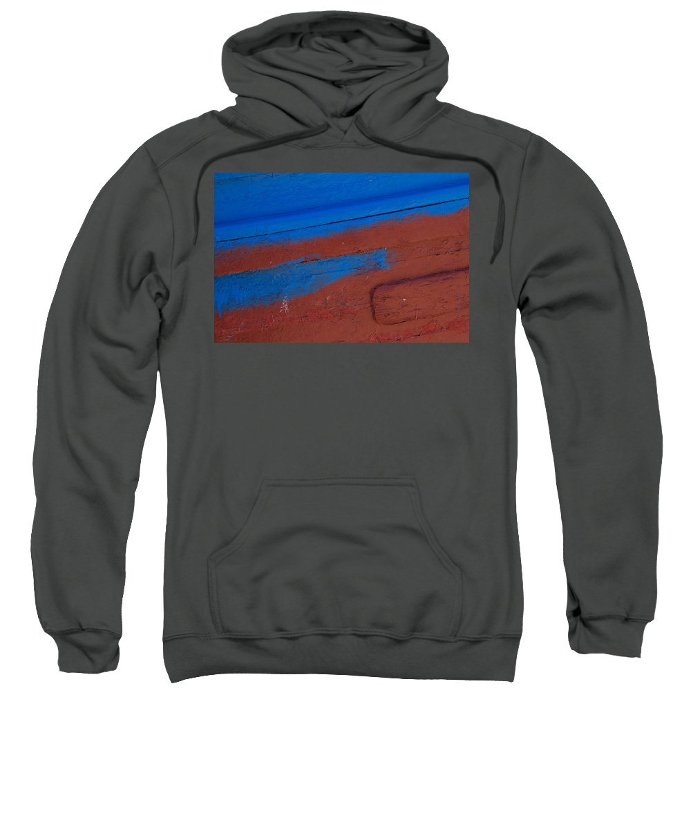Boat Sweatshirt featuring the photograph Blue And Red Abstract by Lindley Johnson
