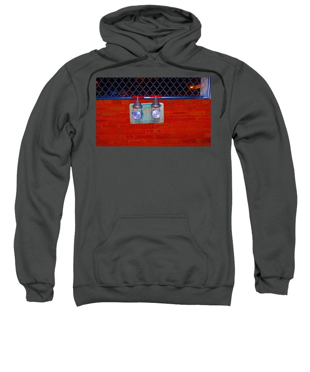 Color Photograph Sweatshirt featuring the photograph Blue And Red Pipe by Thomas Valentine