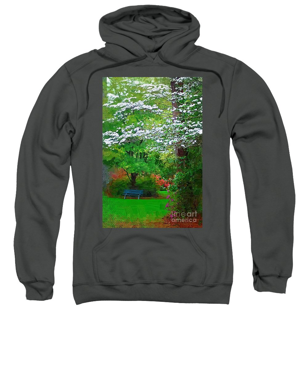 Park Sweatshirt featuring the photograph Blue Bench In Park by Donna Bentley