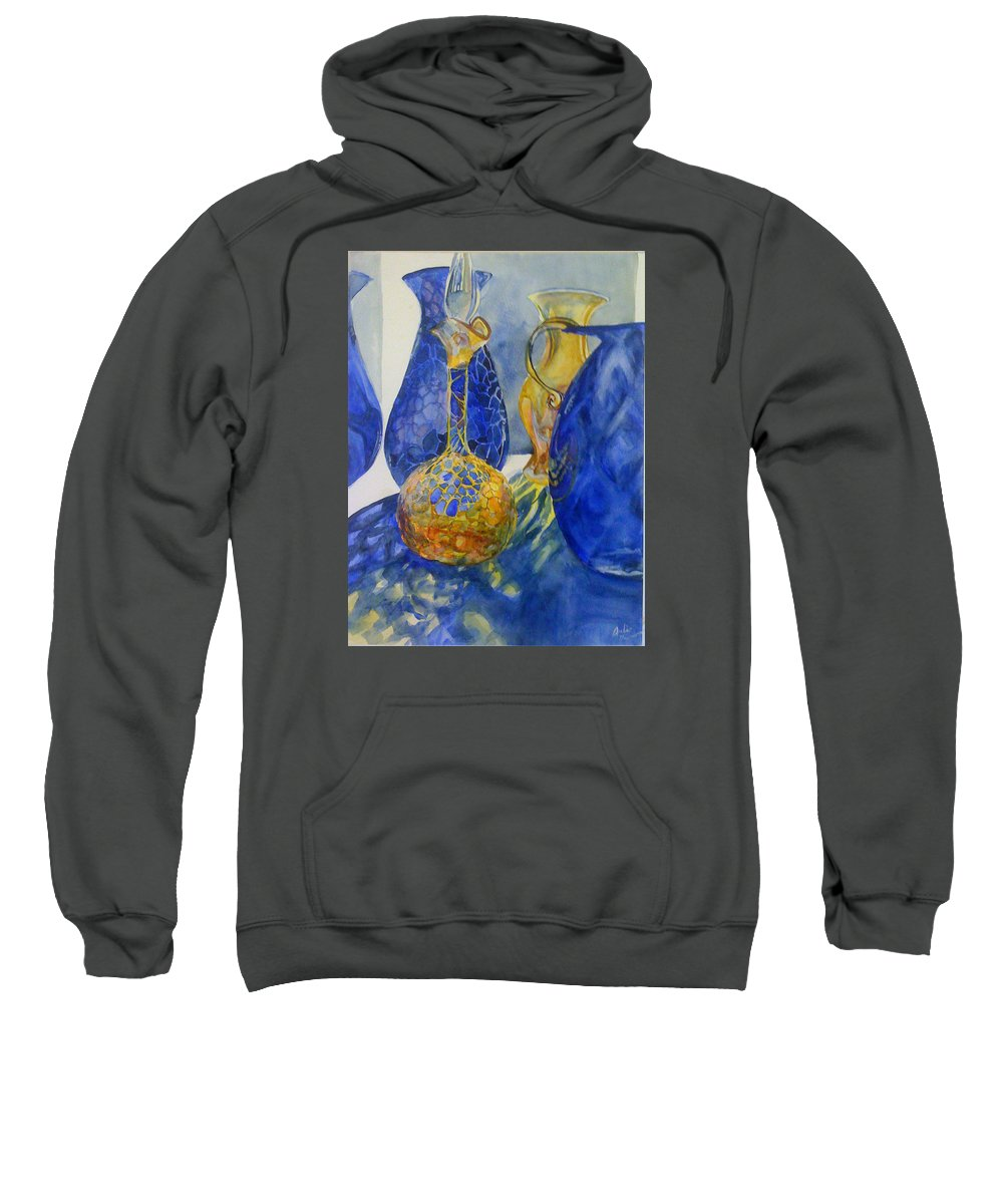 Glass Sweatshirt featuring the painting Blue Blenko by Julie Morrison