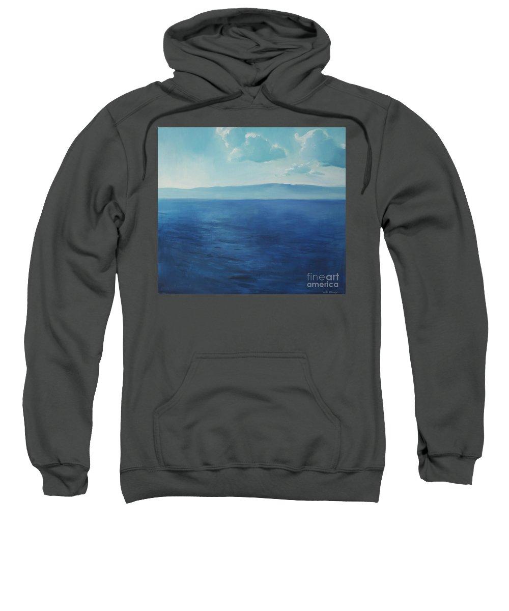 Lin Petershagen Sweatshirt featuring the painting Blue Blue Sky Over The Sea by Lin Petershagen