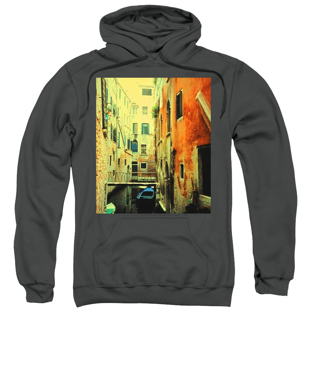 Venice Sweatshirt featuring the photograph Blue Boat In Venice by Ian MacDonald