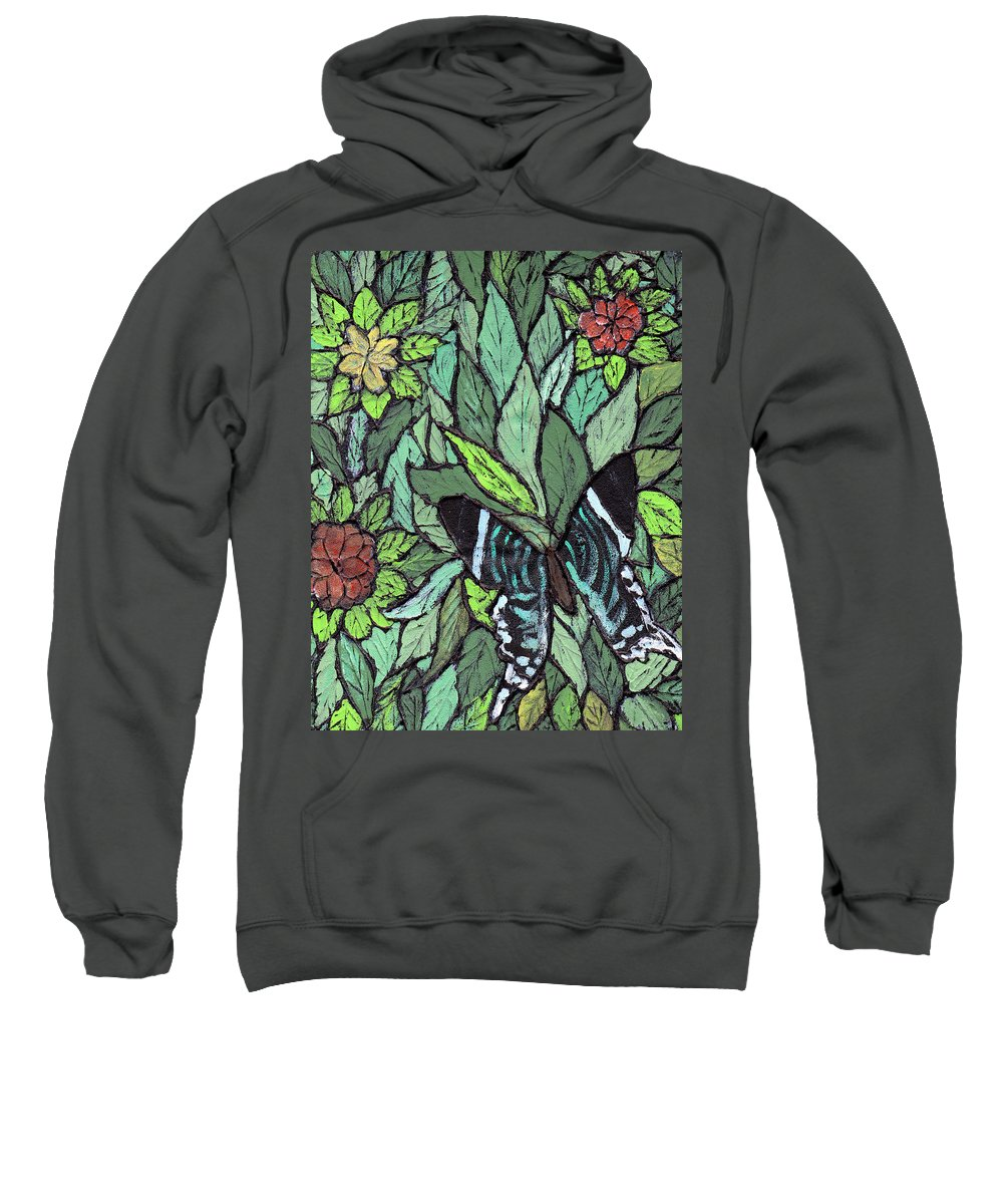 Butterfly Sweatshirt featuring the painting Blue Butterfly by Wayne Potrafka
