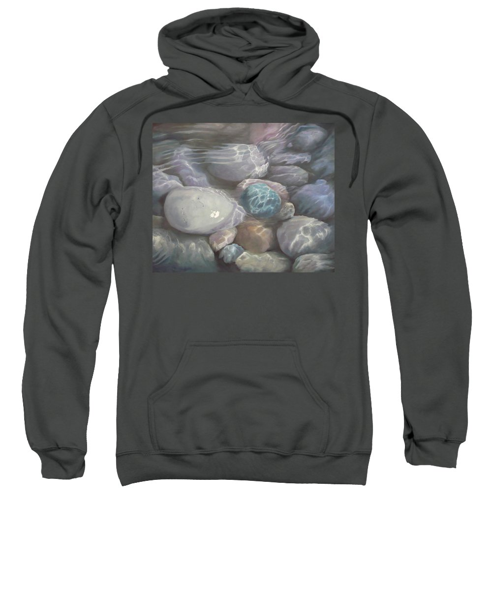 Pebbles Water Oil Blue Sea Underwater Sweatshirt featuring the painting Blue Calm by Caroline Philp