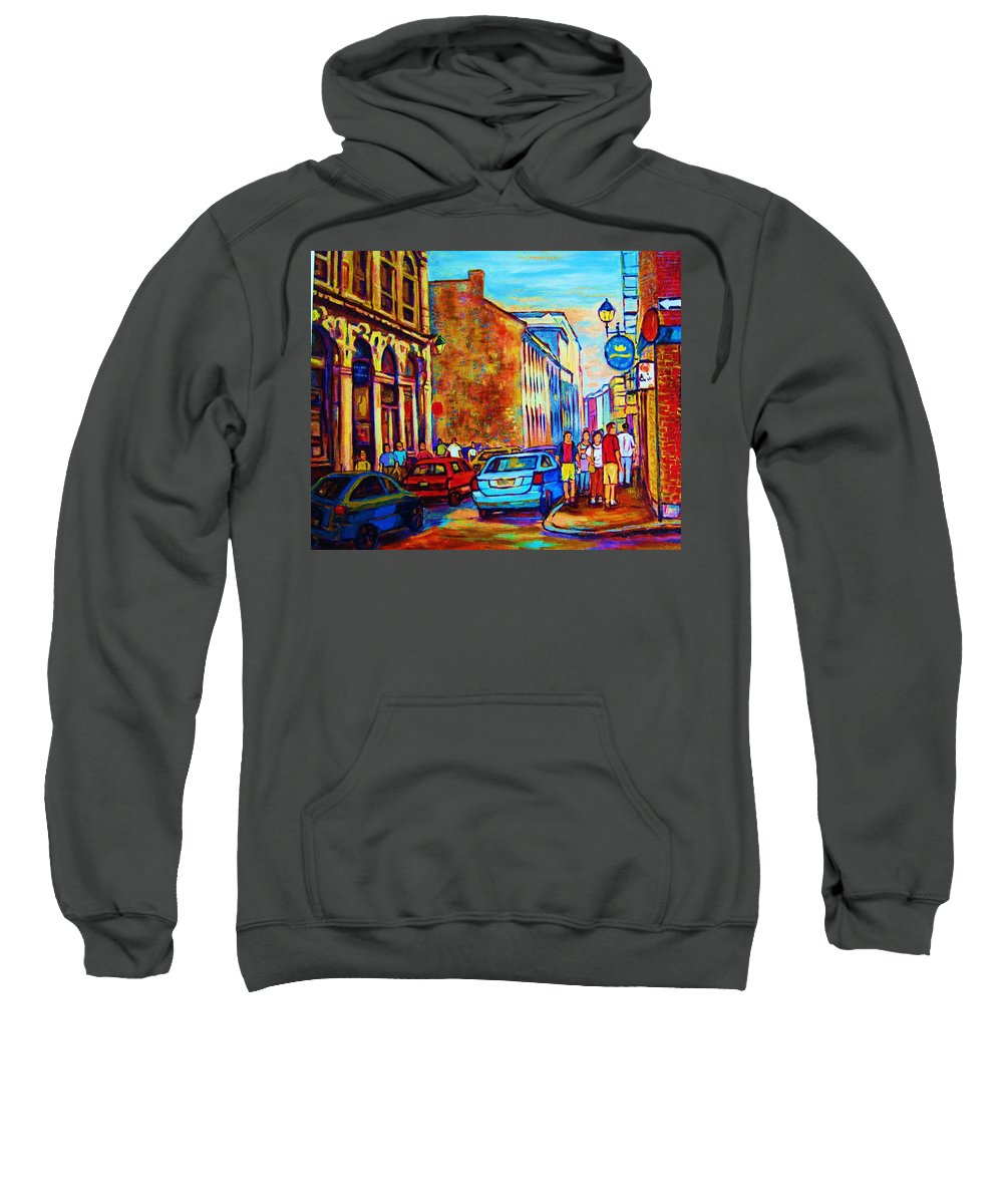 Montreal Sweatshirt featuring the painting Blue Cars At The Resto Bar by Carole Spandau
