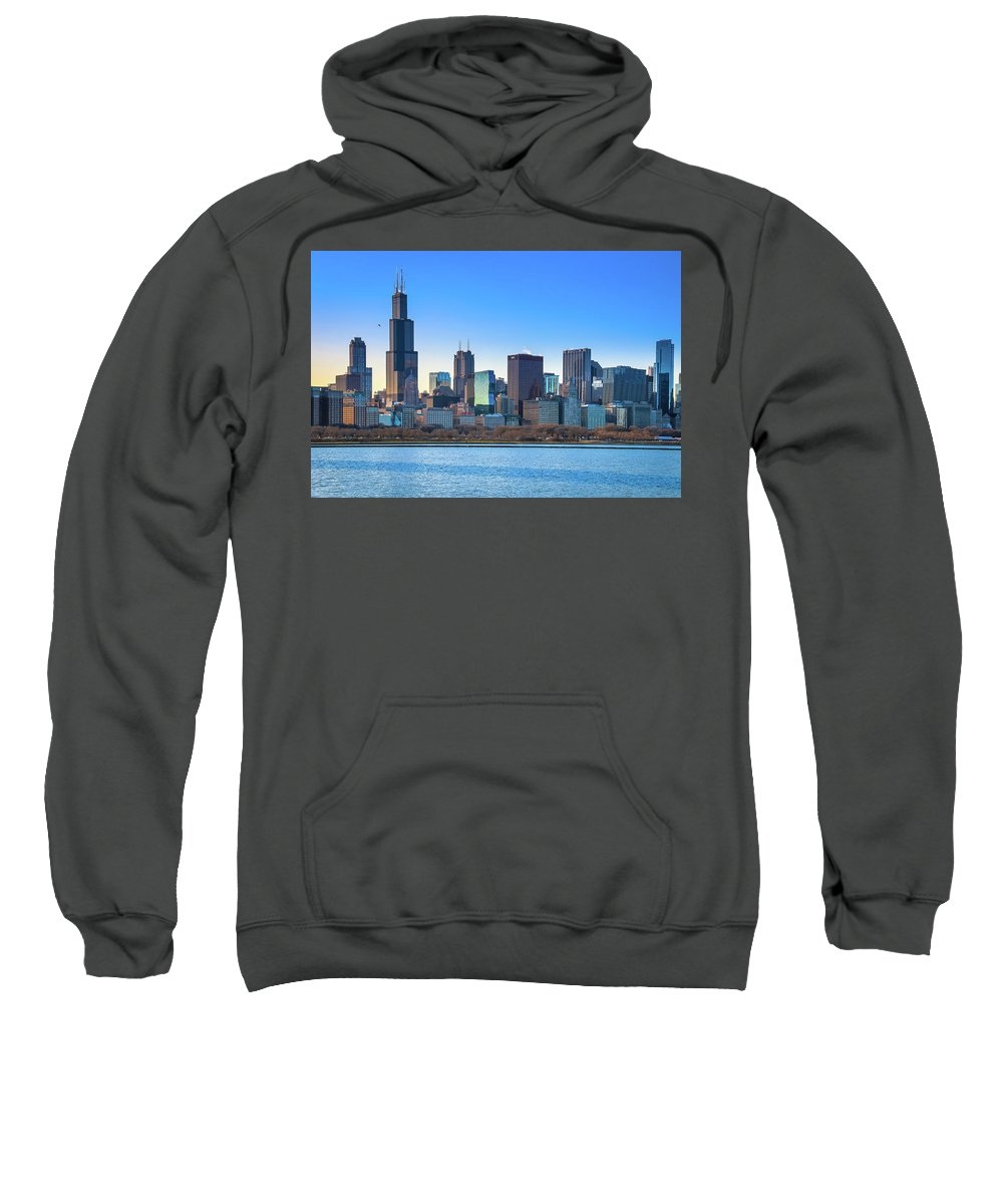 Chicago Sweatshirt featuring the photograph Blue Chicago by Tony HUTSON