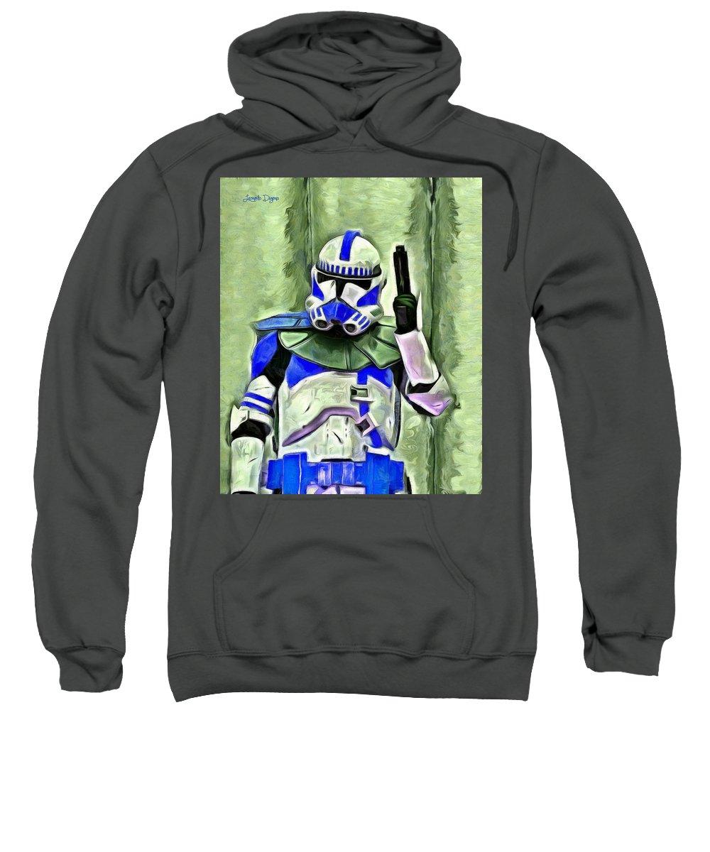 Helmet Sweatshirt featuring the digital art Blue Commander Stormtrooper At Work - Da by Leonardo Digenio