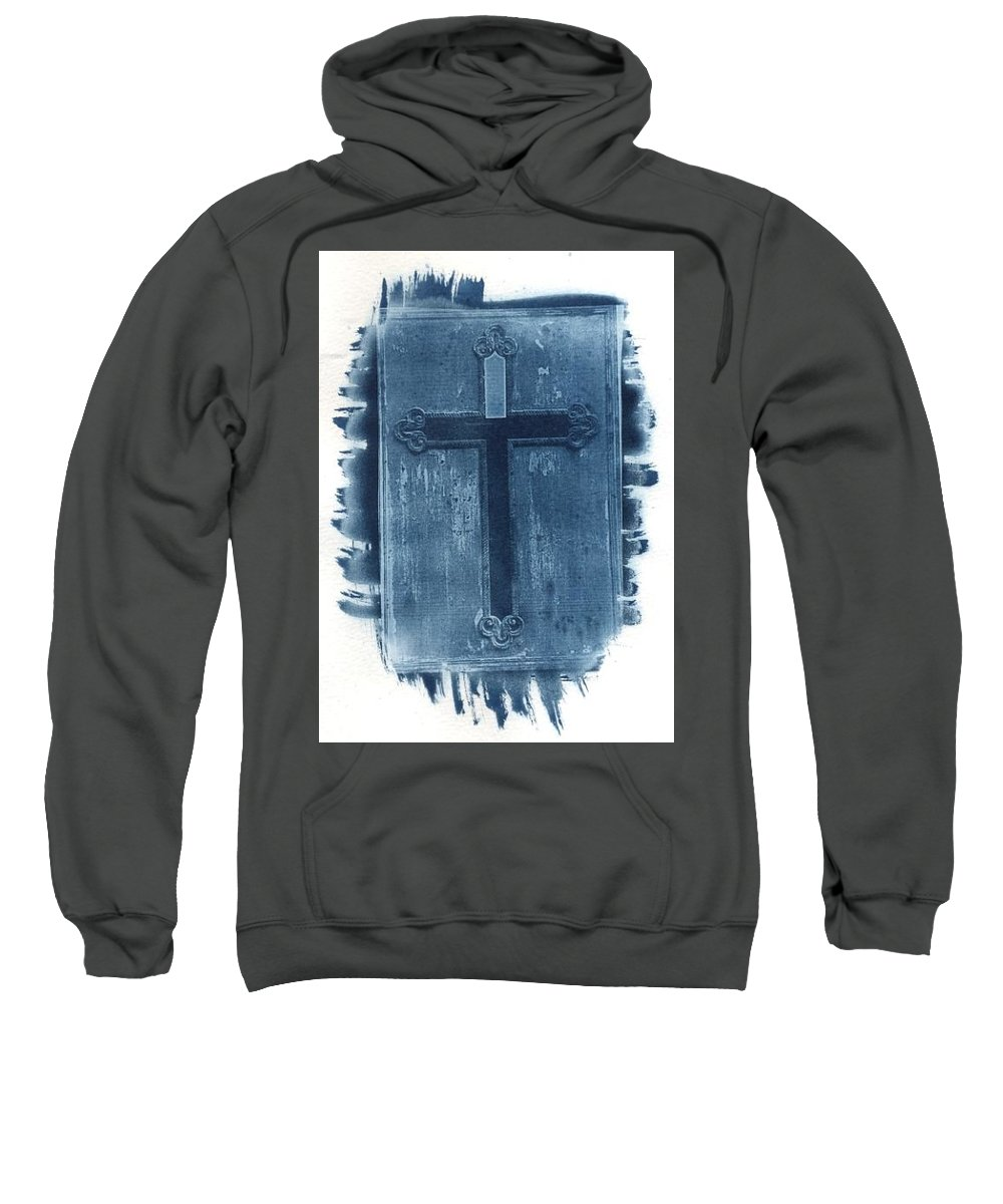 Cyanotype Sweatshirt featuring the photograph Blue Cross by Jane Linders