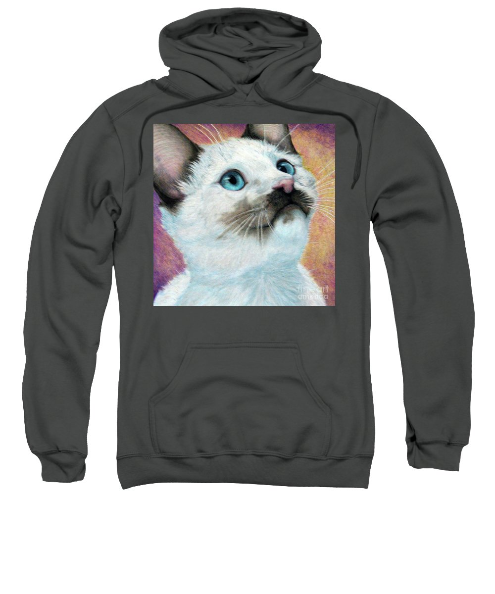 Cats Sweatshirt featuring the drawing Blue Eyed Prayer by Beverly Fuqua