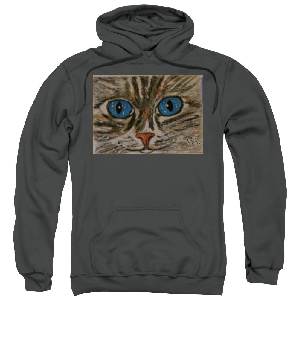 Blue Eyes Sweatshirt featuring the painting Blue Eyed Tiger Cat by Kathy Marrs Chandler