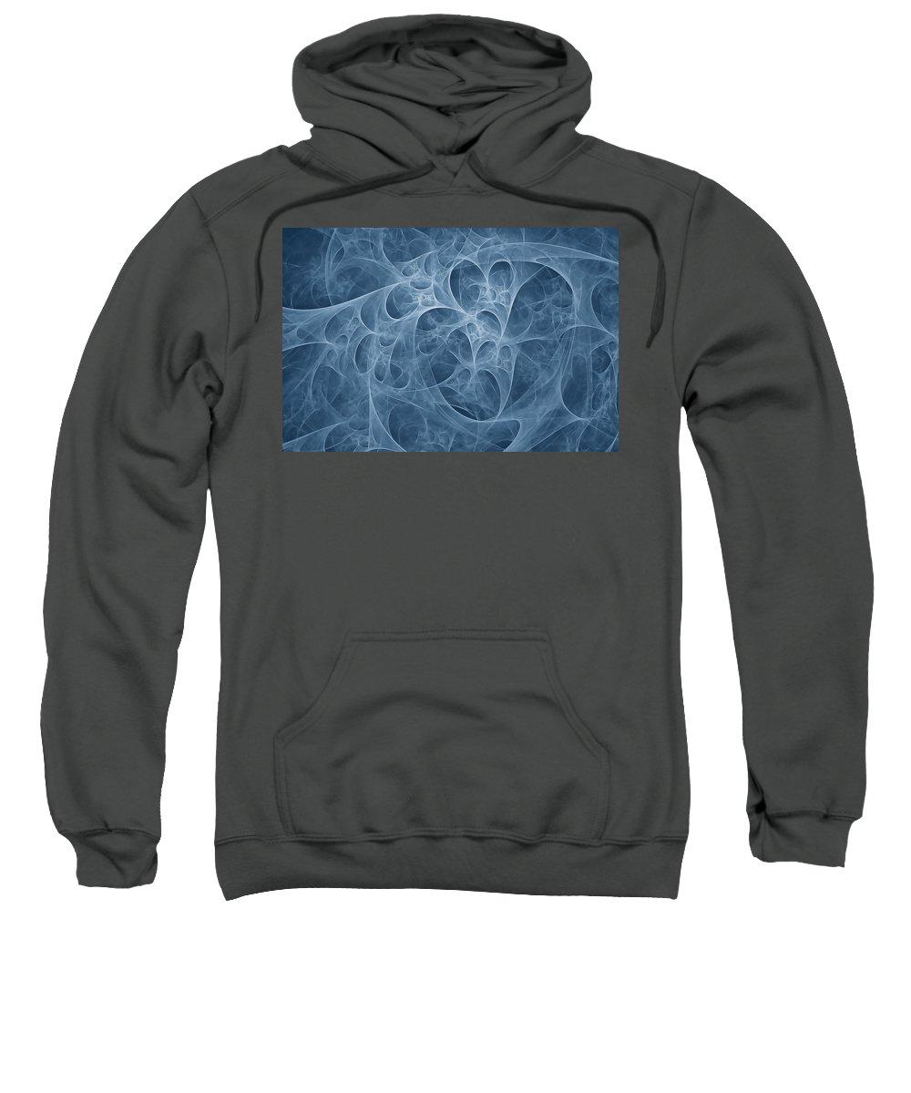 Fractal Art Sweatshirt featuring the digital art Blue Fugue by Doug Morgan
