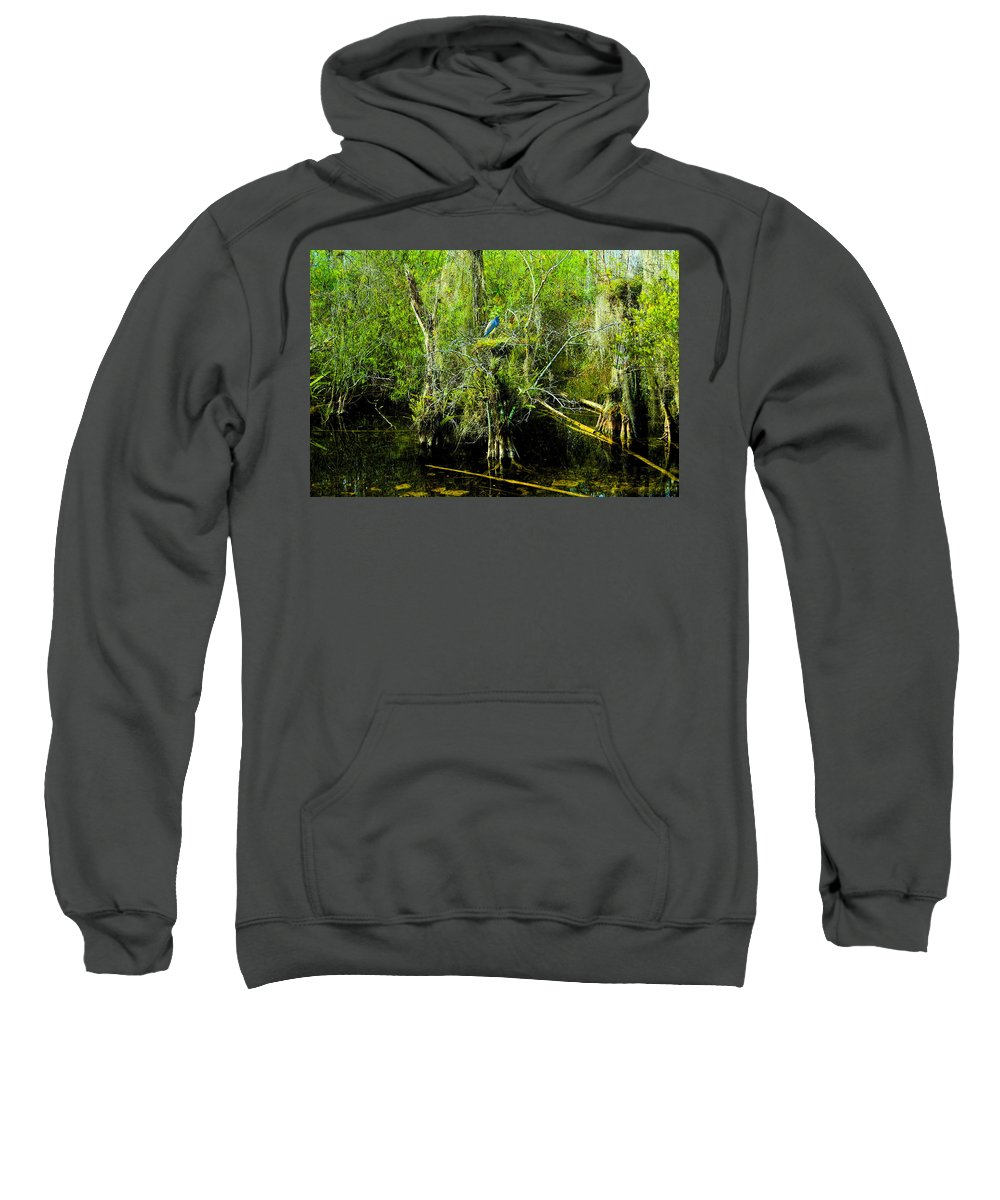 Art Sweatshirt featuring the painting Blue Heron by David Lee Thompson