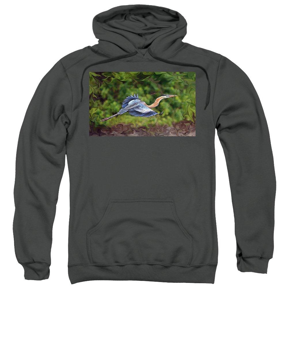 Blue Heron Bird Photography Shore Flight Flying Photograph Sweatshirt featuring the photograph Blue Heron Flight by Shari Jardina