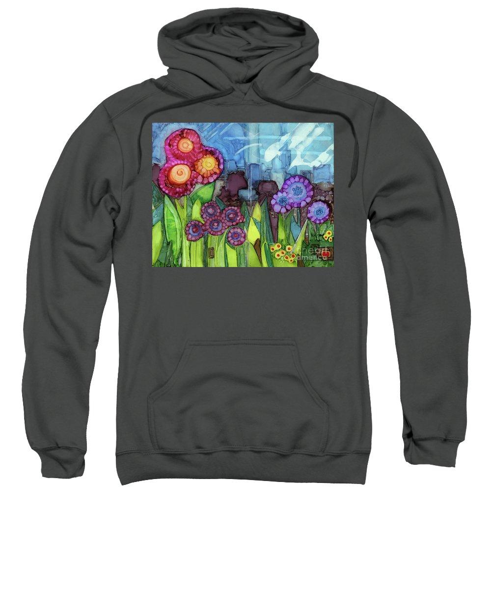 Alcohol Ink Sweatshirt featuring the painting Blue Hoo Hoo Skies by Vicki Baun Barry