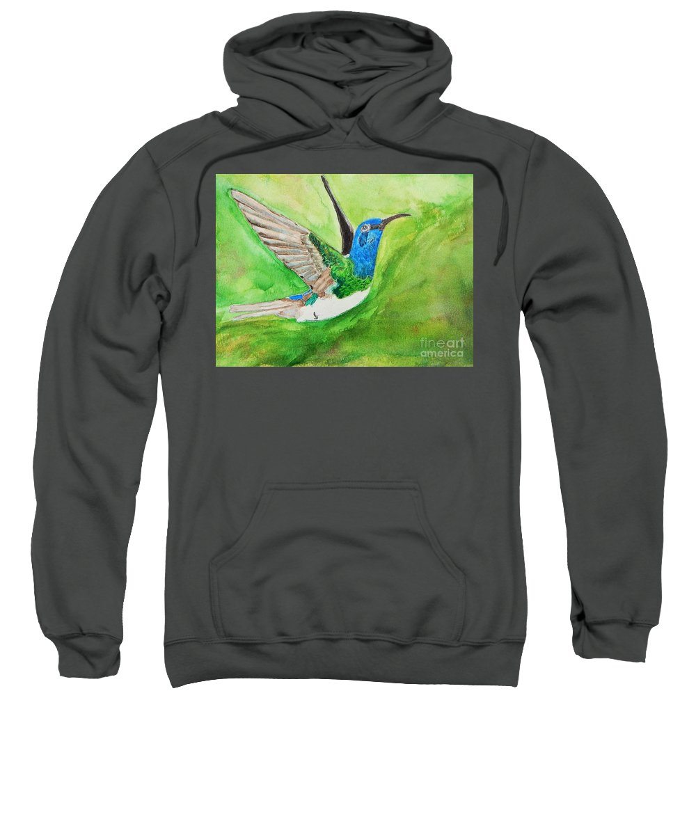 Humming Bird Sweatshirt featuring the painting Blue Humming Bird by Barbara King