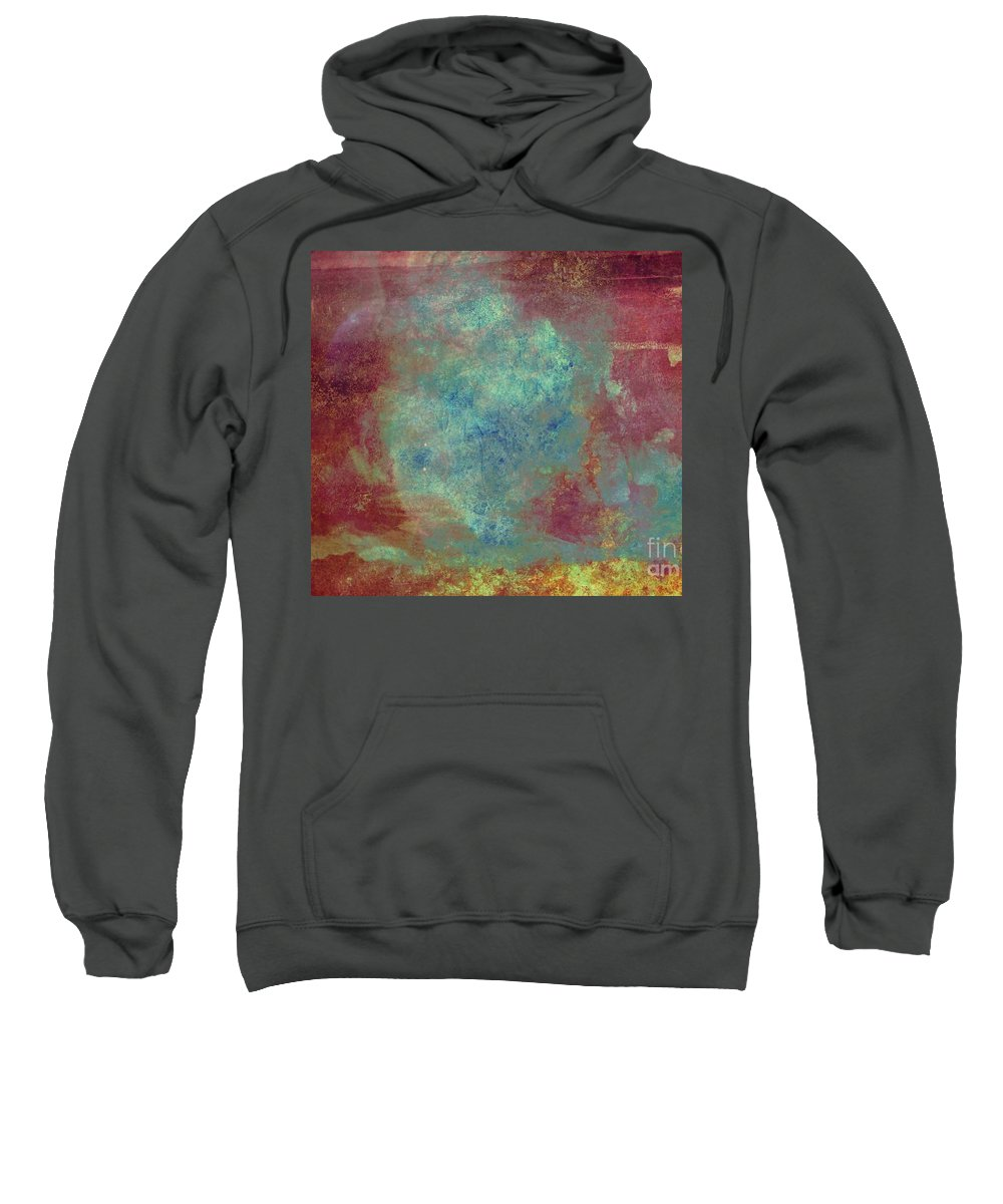 Iron Sweatshirt featuring the painting Blue Iron Texture Painting by Justyna JBJart