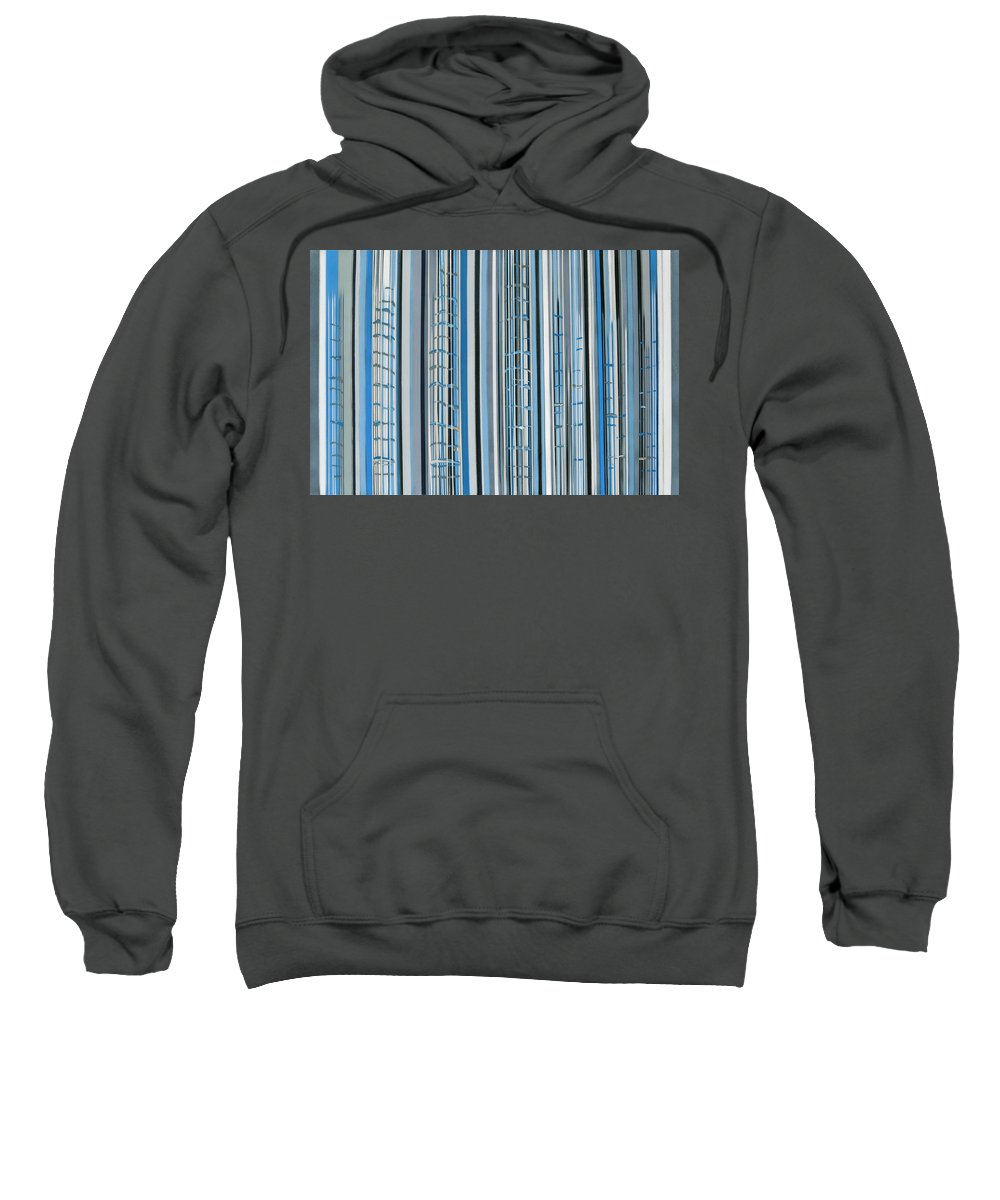 Blue Jay's Song With The Color Matched To The Actual Bird And Then Sonogram Downloaded Into A Format For Stripes And The Composition Made From The Software Of The Sonogram. The Song Is A Beautiful Color Of Blues Sweatshirt featuring the painting Blue Jay's Song by Carol Hanna