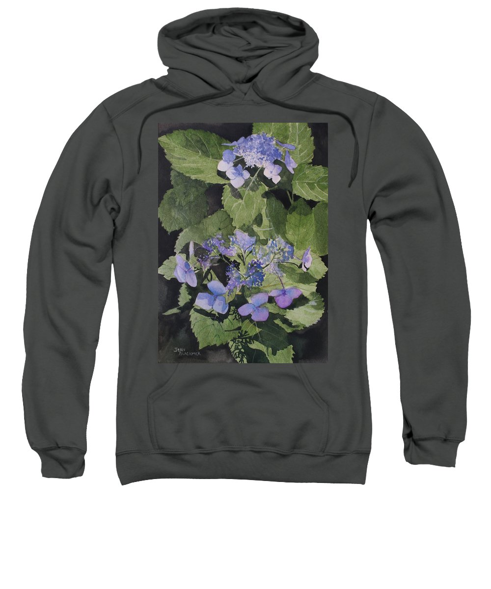 Flowers Sweatshirt featuring the painting Blue Lace by Jean Blackmer