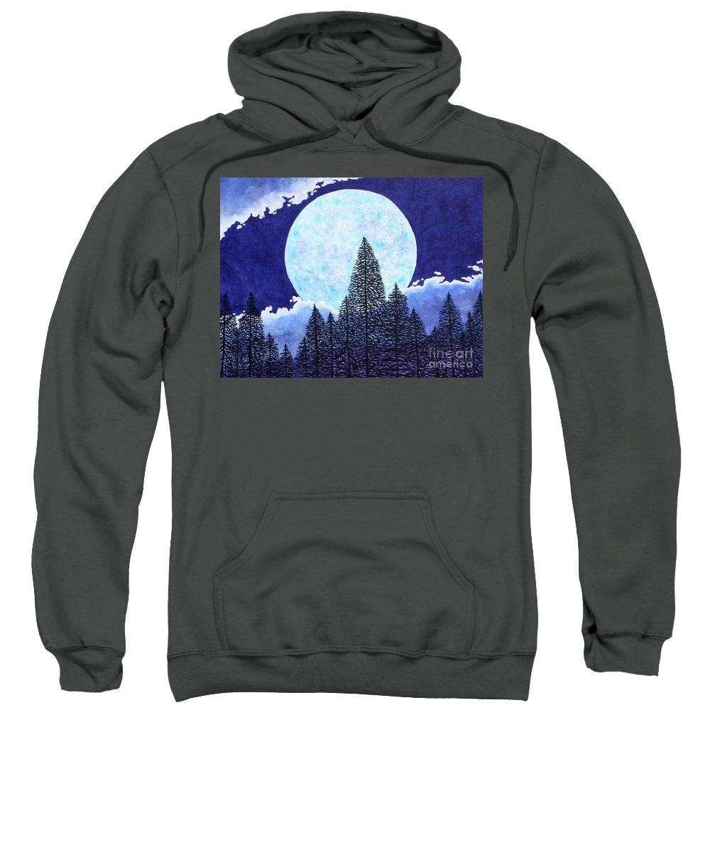 Moon Sweatshirt featuring the painting Blue Moon by Tracy Levesque