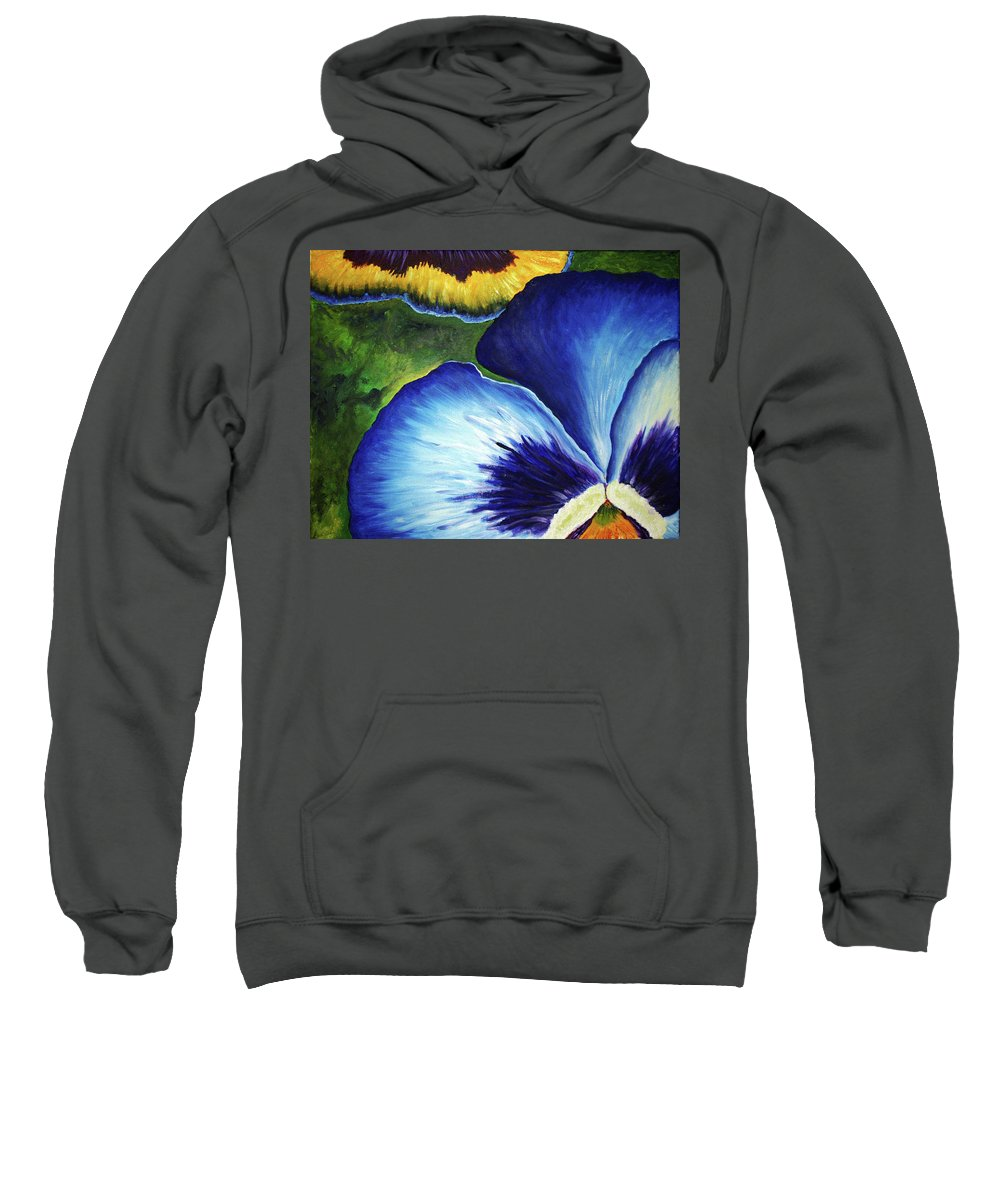 Pansy Sweatshirt featuring the painting Blue Pansies by Nancy Mueller