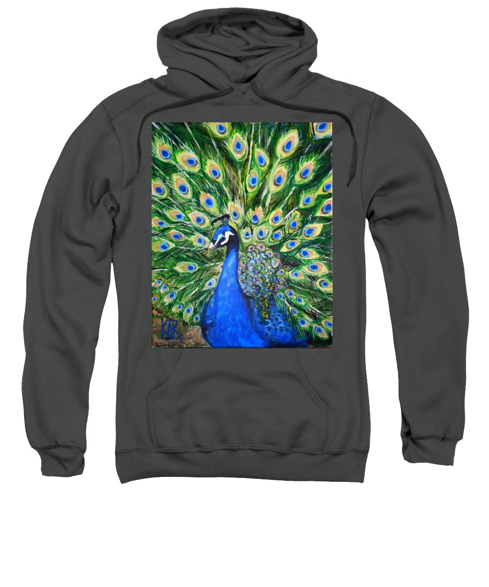 Peacock Sweatshirt featuring the painting Blue Peacock by Art by Kar