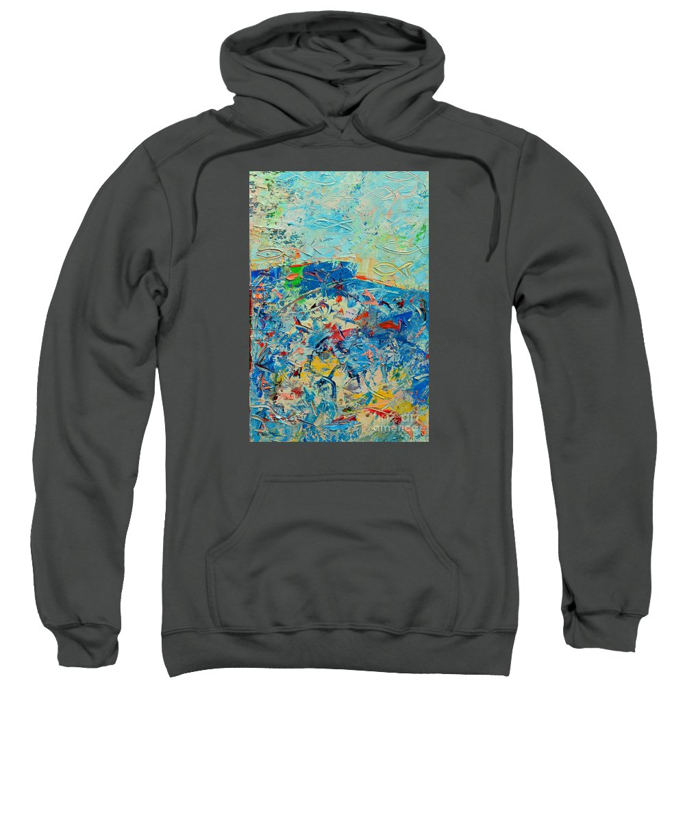 Blue Sweatshirt featuring the painting Blue Play 4 by Ana Maria Edulescu