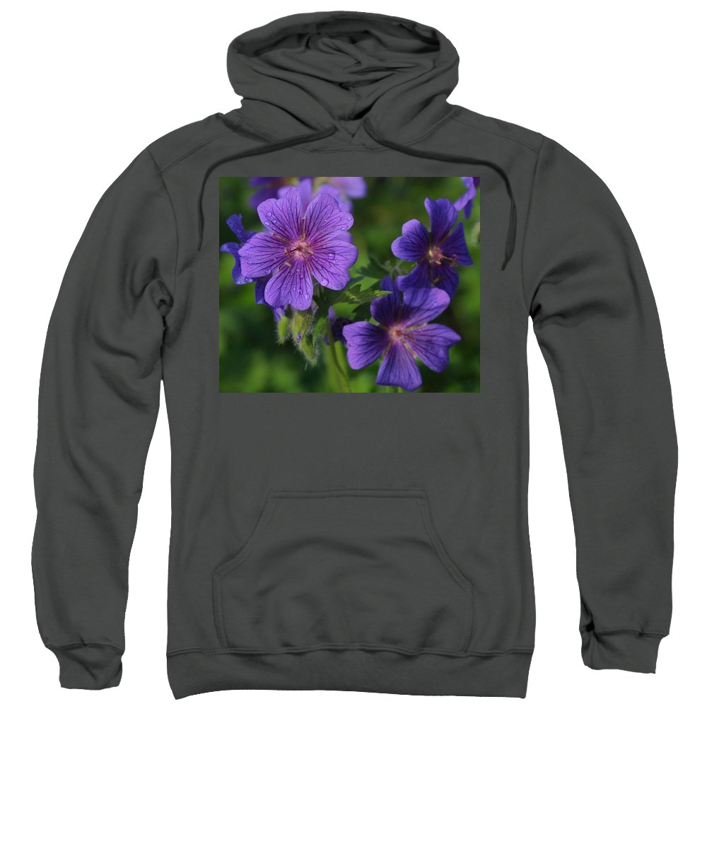 Blue Sweatshirt featuring the photograph Blue Raindrops by Ian MacDonald