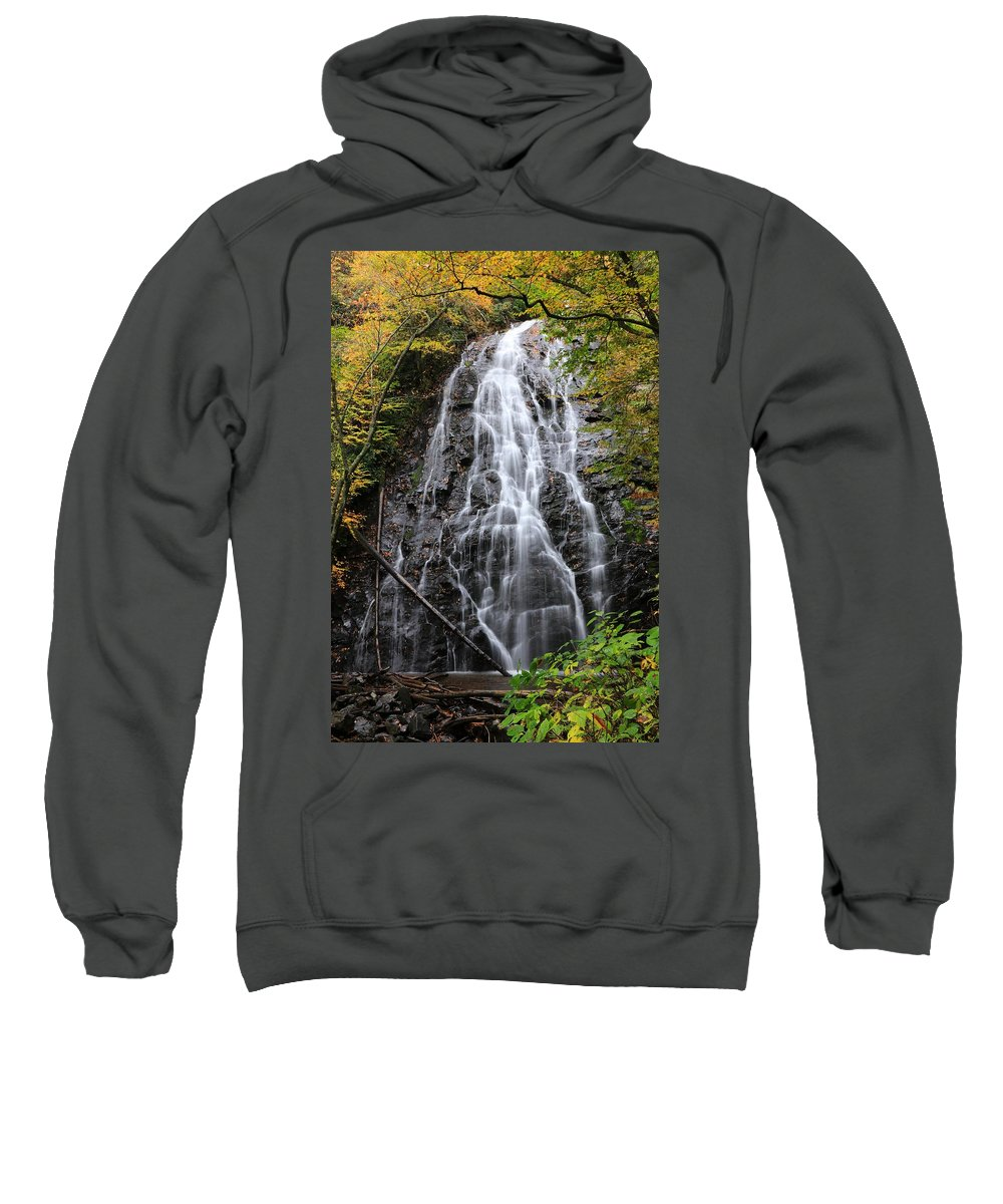 Crabtree Falls Sweatshirt featuring the photograph Blue Ridge Parkway Crabtree Falls In Autumn by Carol Montoya