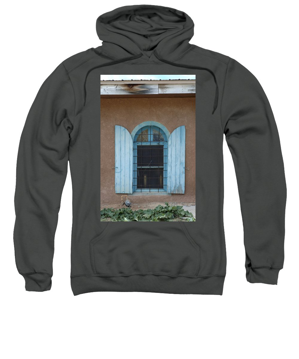 Adobe Sweatshirt featuring the photograph Blue Shutters by Jerry McElroy