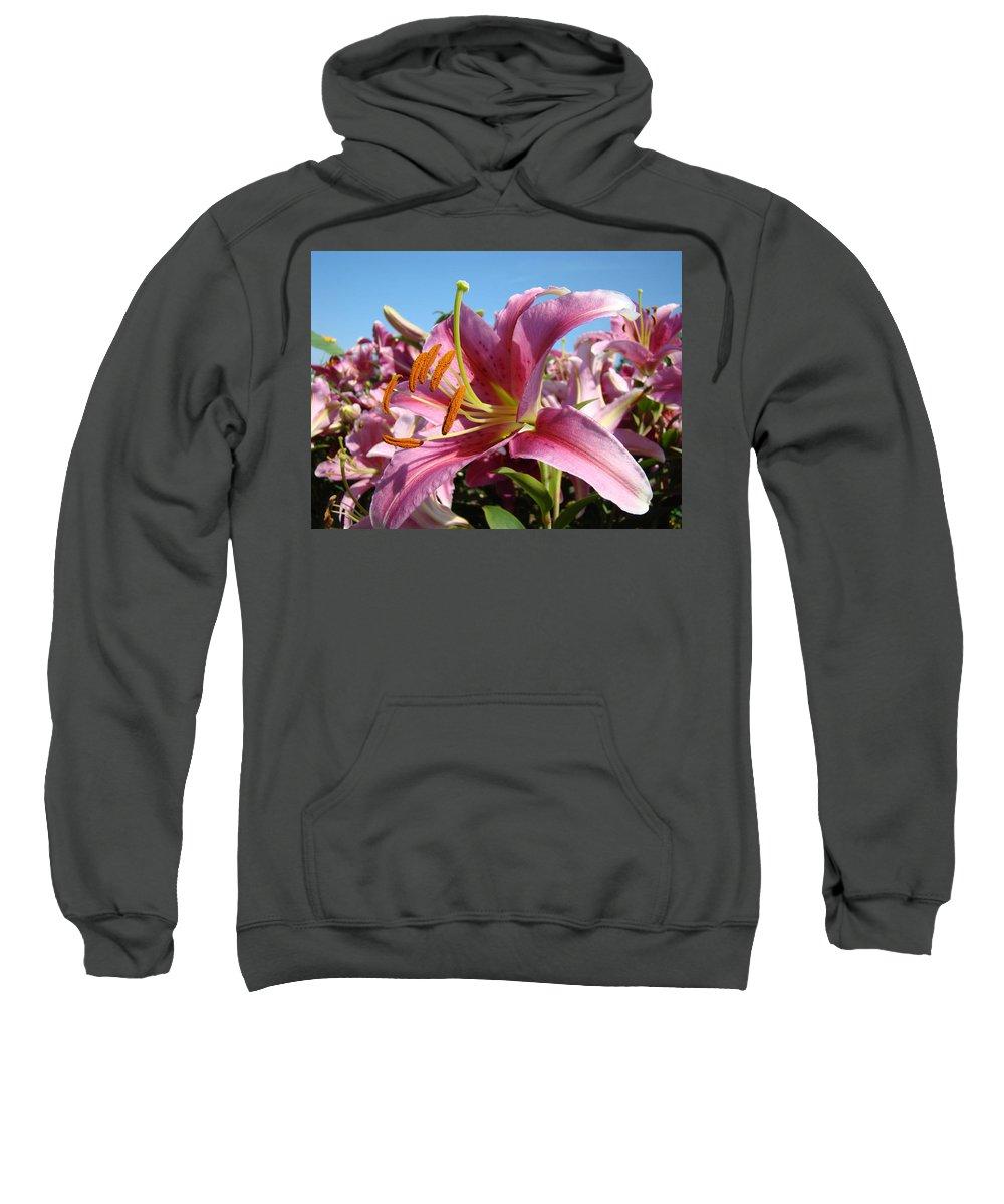 Lilies Sweatshirt featuring the photograph Blue Sky Floral Landscape Pink Lilies Art Prints Canvas Baslee Troutman by Baslee Troutman